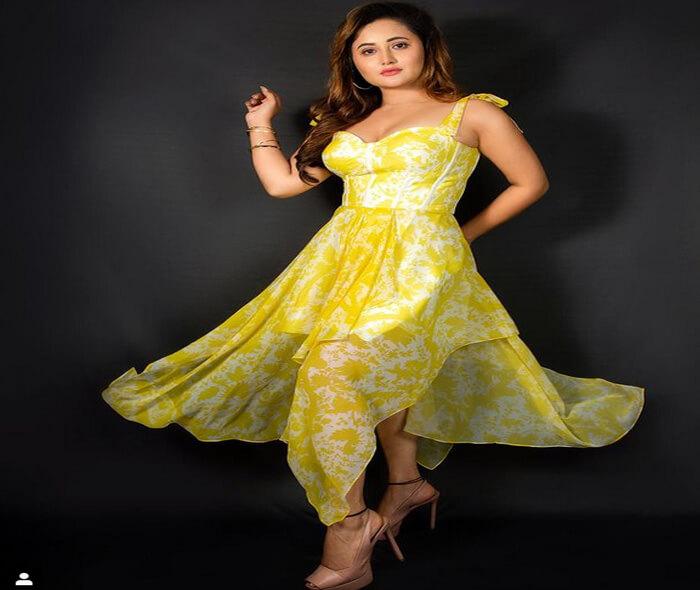rashami desai in yellow dress